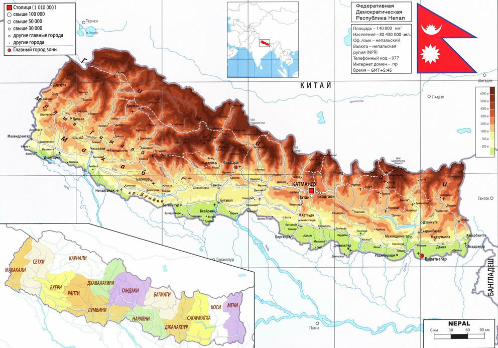Непал на карте