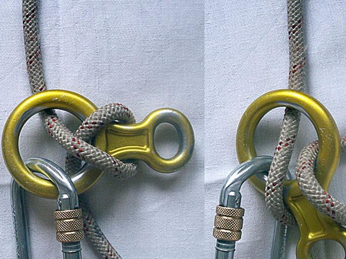 Опасный способ запрвки веревки